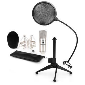 CM001S Juego de micrófono V2 Micrófono de condensador Soporte para micrófono Protector antipop plateado