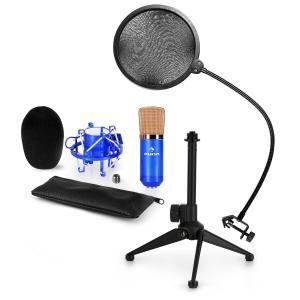CM001BG Mikrofon-Set V2 Kondensatormikrofon Mikrofonstativ POP-Schutz blau