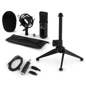 CM001B Mikrofon-Set V1 Kondensatormikro USB-Adapter Mikrofonstativ schwarz