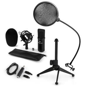 CM001B Microphone Set V2 Condenser Microphone USB Adapter Microphone Stand Black