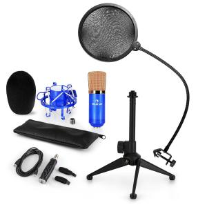 CM001BG Microphone Set V2 Condenser Microphone USB Adapter Microphone Stand Blue