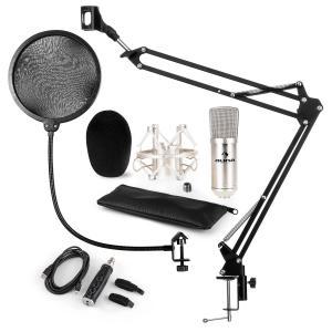 auna CM001S Set Microfono USB V4 Microfono A Condensatore Adattatore USB Braccio Per Microfono Filtro Antipop Argento