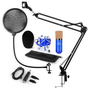 auna CM001BG Set Microfono USB V4 Microfono A Condensatore Adattatore USB Braccio Per Microfono Filtro Antipop Blu