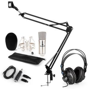 CM001S Microphone Set V3 Headphone Condenser Microphone USB Adapter Arm Silver