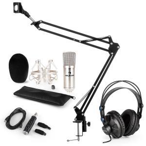 auna CM001S Set Microfono V3 Cuffie Condensatore Adattatore USB Braccio argento