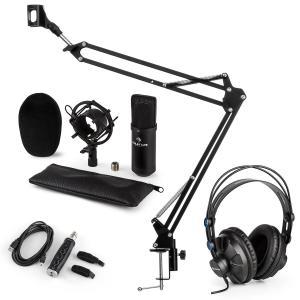 auna CM001B Set Microfono V3 Cuffie Condensatore Adattatore USB Braccio nero