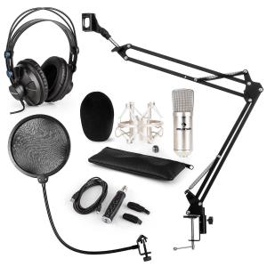 CM001S Microphone Set V4 Headphones Condenser USB Adapter Arm POP-Shield