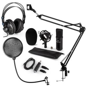CM001B Microphone Set V4 Headphones Condenser USB Adapter Arm POP Protection