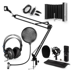 CM001B Microphone Set V5 Headphone Condenser Screen Arm POP Protection Black