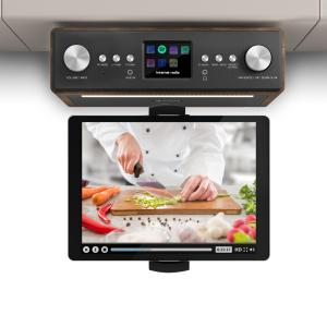 "Connect Soundchef radio de cocina con soporte para tableta DAB+ FM 2 x 3"" - altavoces nogal"