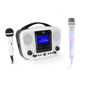 KaraBanga Karaokeanlage Set | dynamisches Mikrofon | TFT-Farbdisplay 4,3''  | Video- und Line-Ausgang | Formate: CD, CD+G, CD-R, CD-RW, MP3 | Bluetooth | benötigte Batterien: 8 x LR14 | Tragegriff | inklusive Kara Dazzl Mikrofon | weiß