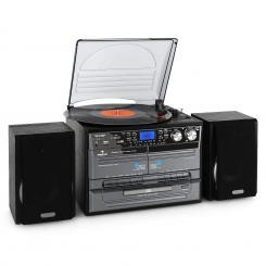 TC-386 microcadena con tocadiscos cadena estéreo cassette USB negro