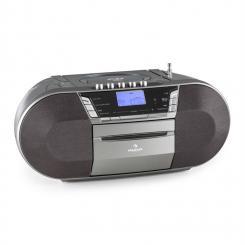 auna Jetpack Boombox Portatile USB CD MP3 OUC a Pile Grigio