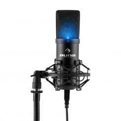MIC-900B-LED Micrófono de condensador USB cardioide Estudio LED Negro
