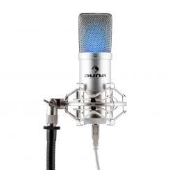 MIC-900S-LED Micrófono de condensador USB cardioide Estudio LED Plata