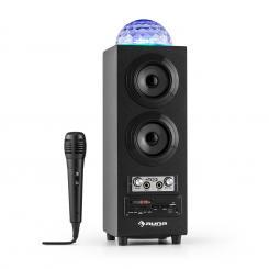 DiscoStar Negro Portátil 2.1 Altavoz con Bluetooth USB SD Batería LED Micrófono