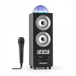 DiscoStar Plateado Portátil 2.1 Altavoz con Bluetooth USB SD Batería LED Micrófono