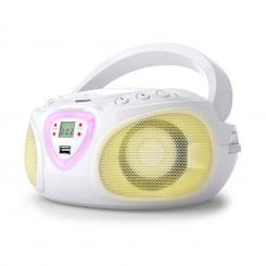 auna Roadie Boombox CD USB MP3 Radio OM/OUC Bluetooth 2.1 Gioco Cromatico LED bianco