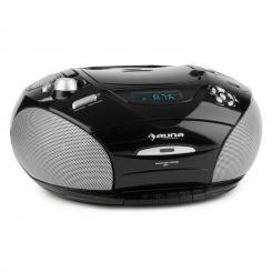 auna RCD 220 Boombox CD USB Mangianastri Radio PLL-OUC MP3 nero