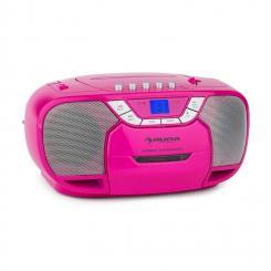 auna BeeGirl Boom Box Radio Lettore CD/MP3 Piastra Cassette Rosa