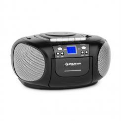 auna BoomBoy Boom BoxRadio Lettore CD/MP3 Piastra Cassette Nero
