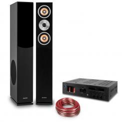 """Hifi Set """"Music Glow"""" - altavoz de pie - amplificador HiFI de válvulas - cable"""