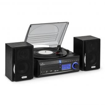 DS-2 Minicadena con tocadiscos y grabación de MP3 Reproductor MP3 USB SD AU