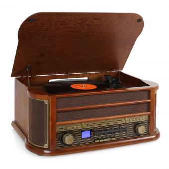 RM1-Belle Epoque 1908 tocadiscos vintage reproductor vinilo marrón oscuro