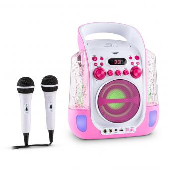 Kara Liquida Equipo de karaoke CD USB MP3 Chorro de agua LED 2x Micrófono móvil