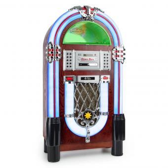 Graceland TT Jukebox/Gramola con Bluetooth, fonógrafo, CD, USB, SD, MP3, AUX y radio FM