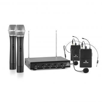 VHF-4-H-HS Juego de micrófonos inalámbricos VHF de 4 canales 2 micrófonos d