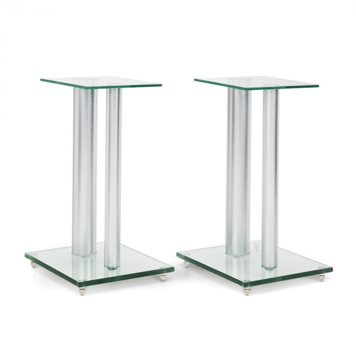 A Pair of Glass Tripod Speaker Stands - 46cm