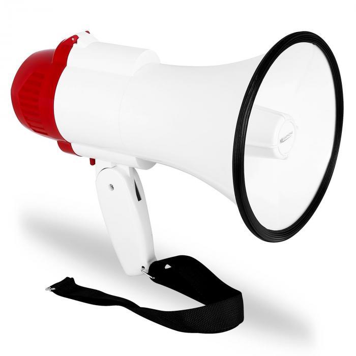 Mégaphone porte voix sirène enregistreur portée 500m 30W