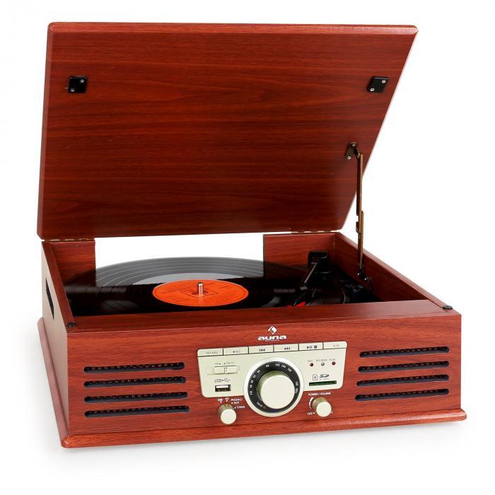 TT-92B platine vinyle enceintes intégrées USB SD AUX FM cerise