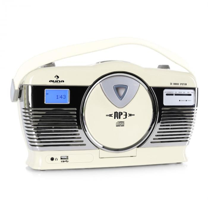 RCD-70 Retroradio UKW USB CD Batterie creme