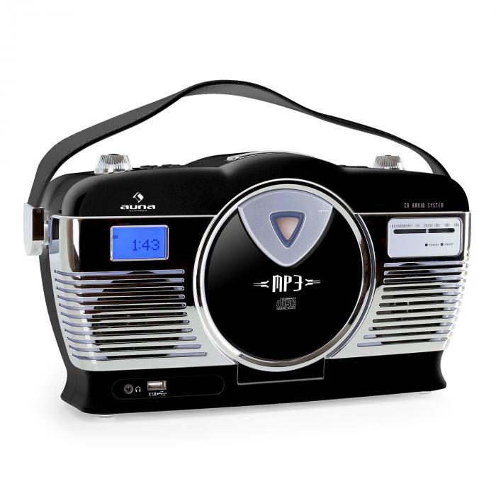 RCD-70 Retro Vintage Portable Radio FM CD/MP3 USB Battery - Black ...