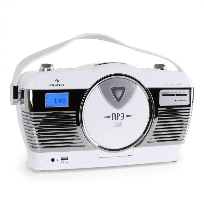 rcd 70 retro vintage portable radio fm cd mp3 usb battery white white purchase online. Black Bedroom Furniture Sets. Home Design Ideas