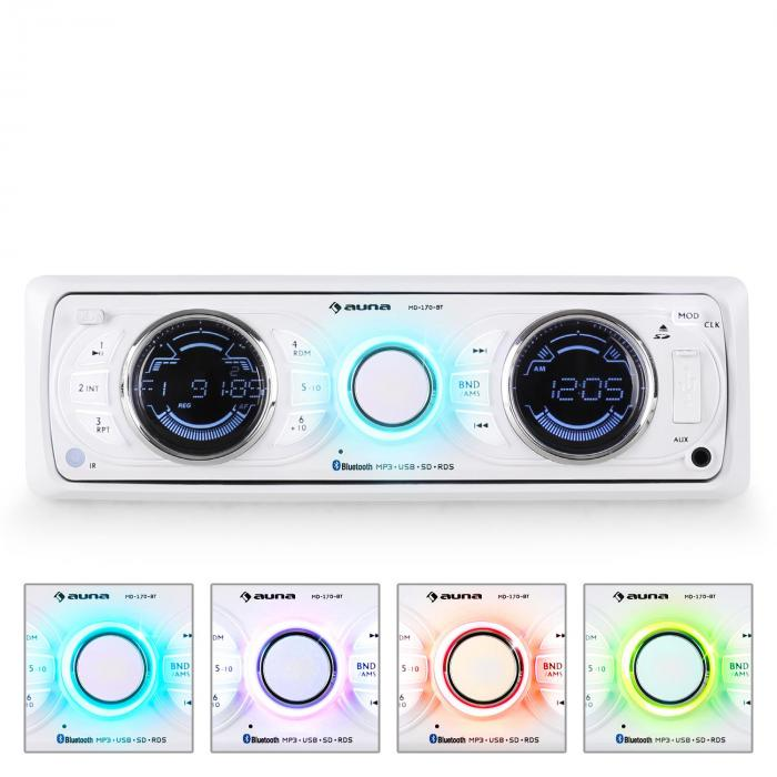 MD-170-BT Car Radio White MP3 USB SD RDS AUX Bluetooth