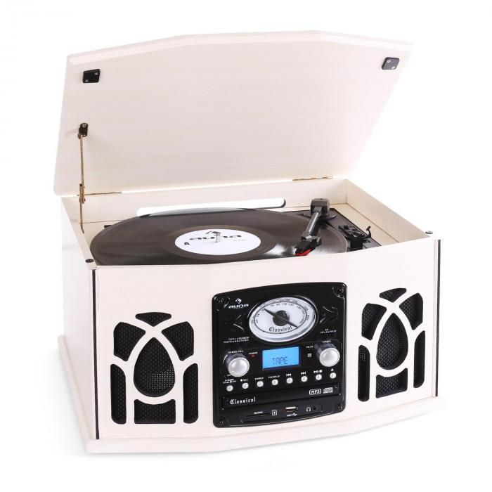 NR-620 Stereoanlage Plattenspieler MP3-Aufnahme Holzgehäuse creme