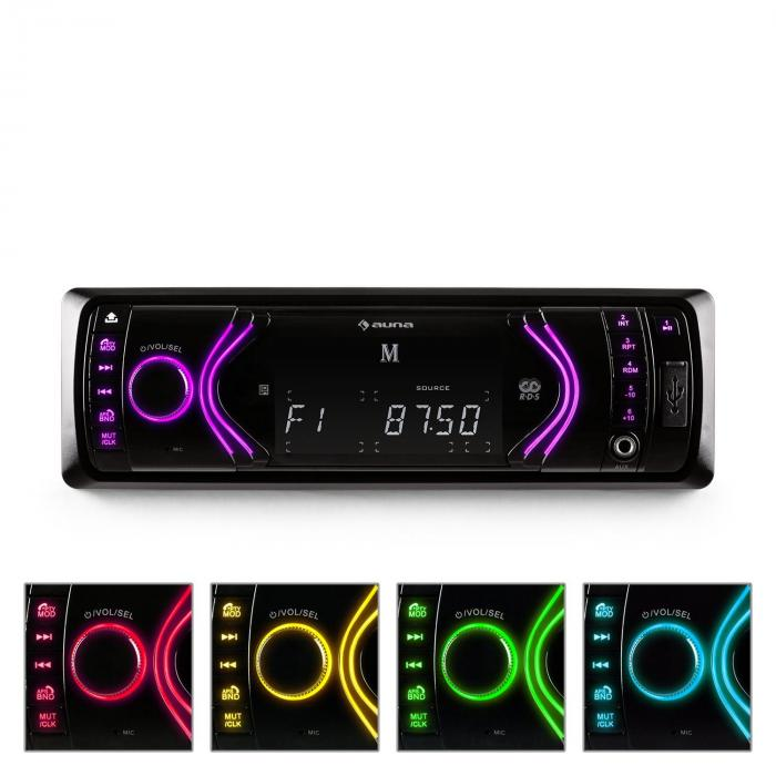 MD-130 Autoradio Bluetooth SD USB AUX RDS 7 Farbmodi