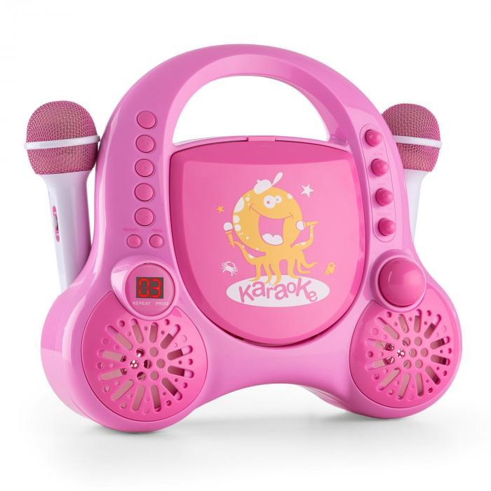 Rockpocket Kinder-Karaokesystem CD AUX 2x Mikrofon Sticker Set pink
