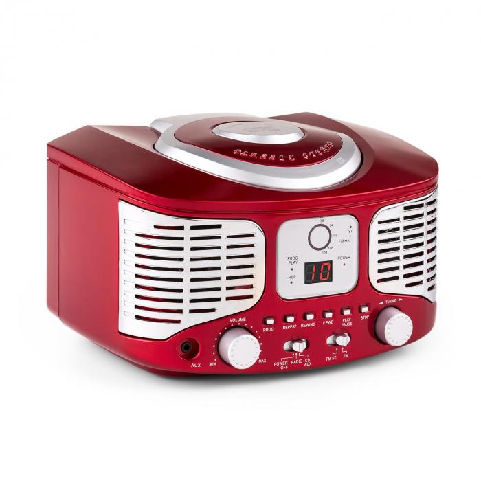 rcd320 retro cd player fm aux red red purchase online. Black Bedroom Furniture Sets. Home Design Ideas