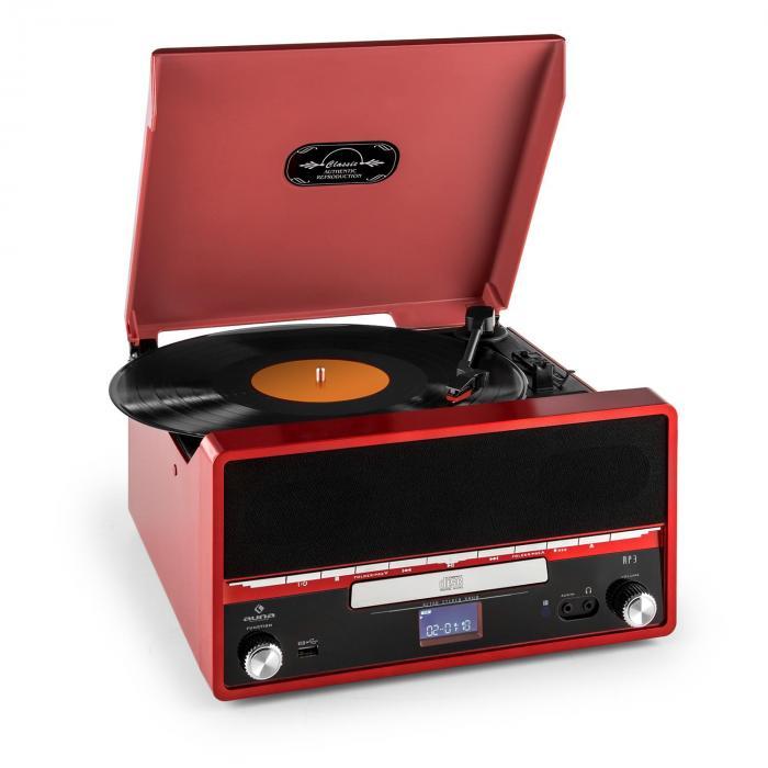 RTT 1922 chaîne HiFi rétro MP3 CD USB FM AUX mode enregistremement - rouge
