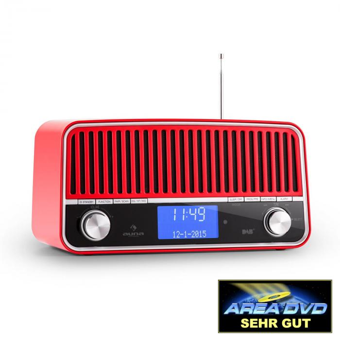 Nizza DAB+ Retro FM Radio Bluetooth AUX 2.1 Subwoofer Red