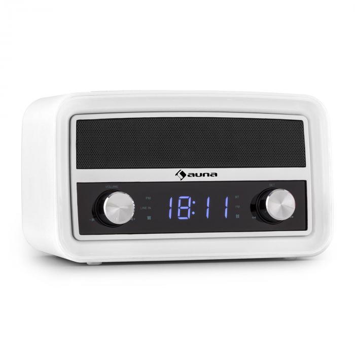 Caprice WH Radio-réveil rétro Bluetooth FM USB AUX blanc