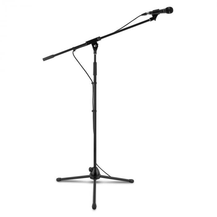 3x auna KM 01 BK Mikrofon-Set 4 tlg. Mikrofon Ständer Klemme Kabel 5m schwarz