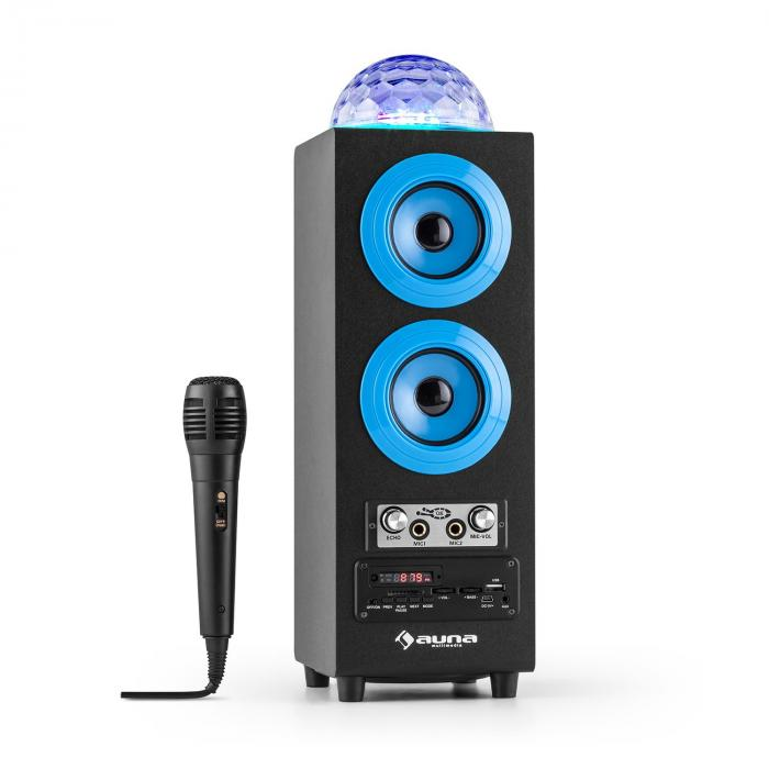DiscoStar Portable 2.1 Bluetooth Speaker Mic in Jellyball LED USB SD Blue