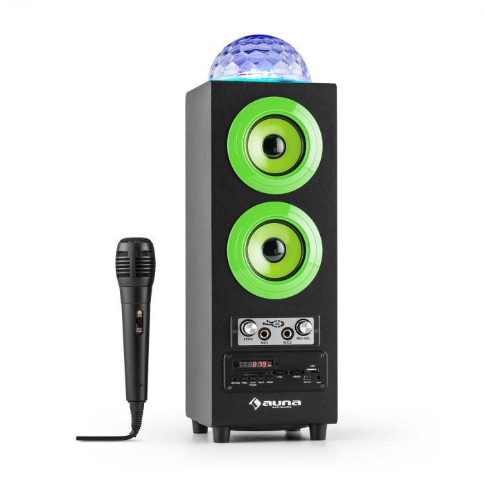 DiscoStar Verde Portátil 2.1 Altavoz con Bluetooth USB SD Batería LED Micrófono