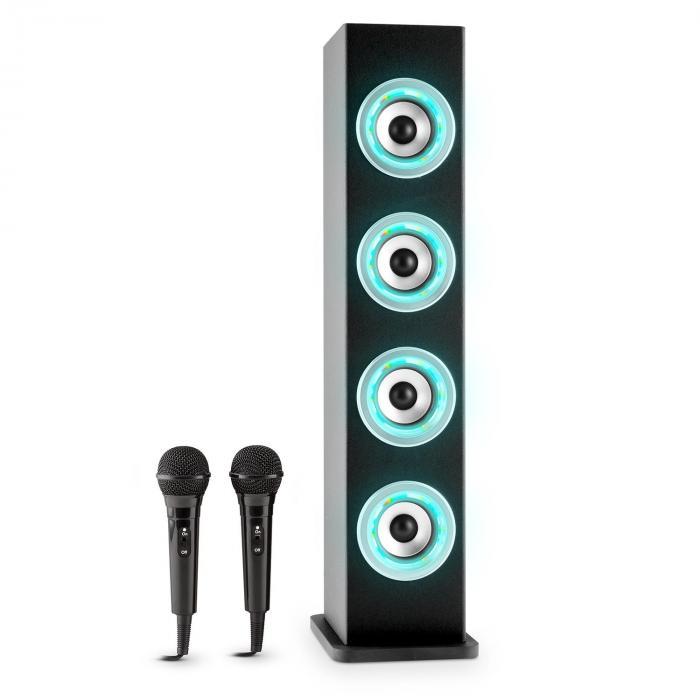 Karaboom LED Bluetooth-Lautsprecher USB AUX Karaoke 2 x Mikrofon