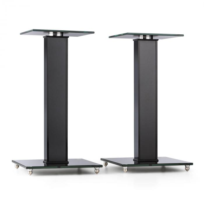 BS-03S-BK Speaker Stands Pair Aluminium Glass MDF Cable Duct incl. Spikes